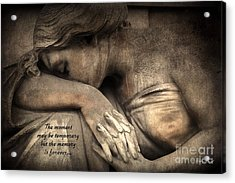 Surreal Sad Angel Cemetery Mourners At Grave With Inspirational Message Of Memories Acrylic Print