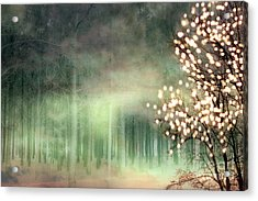 Surreal Sparkling Fantasy Nature - Green Sparkling Lights Trees Forest Woodlands Acrylic Print by Kathy Fornal