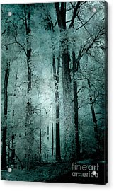 Surreal Trees Fantasy Dark Eerie Haunting Teal Green Woodlands Forest - Lost In The Woods Acrylic Print