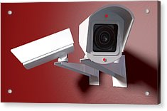 Surveillance Cameras On Red Acrylic Print by Allan Swart