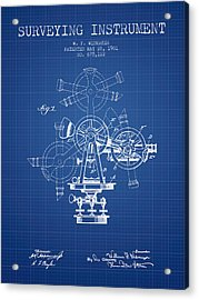 Surveying Instrument Patent From 1901 - Blueprint Acrylic Print by Aged Pixel