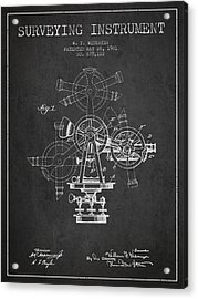 Surveying Instrument Patent From 1901 - Charcoal Acrylic Print by Aged Pixel
