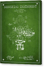 Surveying Instrument Patent From 1901 - Green Acrylic Print by Aged Pixel