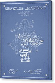 Surveying Instrument Patent From 1901 - Light Blue Acrylic Print by Aged Pixel
