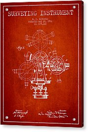 Surveying Instrument Patent From 1901 - Red Acrylic Print by Aged Pixel