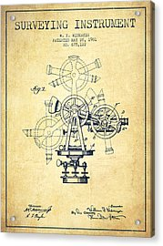 Surveying Instrument Patent From 1901 - Vintage Acrylic Print by Aged Pixel