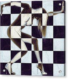 Survive Nude Woman Checkered 2 Acrylic Print by Tony Rubino