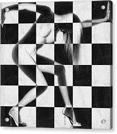 Survive Nude Woman Checkered 4 Acrylic Print