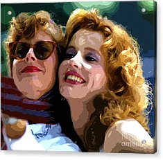 Susan Sarandon And Geena Davies Alias Thelma And Louis - Watercolor Acrylic Print