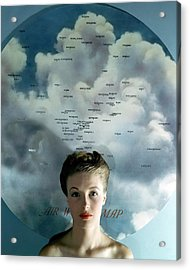 Susan Shaw In Front Of An Azimuthal Map Acrylic Print by John Rawlings