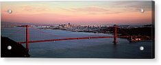 Suspension Bridge Across A Bay, Golden Acrylic Print by Panoramic Images