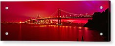Suspension Bridge Lit Up At Night, Bay Acrylic Print by Panoramic Images