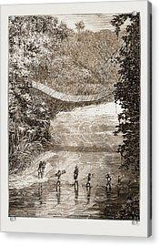 Suspension Bridge Over The Lulindi, Africa Acrylic Print