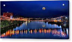 Acrylic Print featuring the photograph Suspension Bridge Wheeling Wv Panoramic by Dan Friend