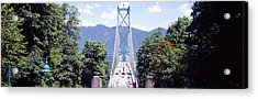 Suspension Bridge With Mountain Acrylic Print