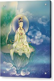 Acrylic Print featuring the photograph Sutra-holding Kuan Yin by Lanjee Chee