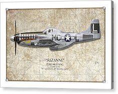 Suzanne P-51d Mustang - Map Background Acrylic Print by Craig Tinder