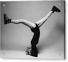 Suzy Chaffee Standing On Her Head Acrylic Print