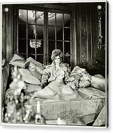Suzy Mehle On A Sofa In Her Mansion Acrylic Print
