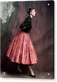 Suzy Parker In A Givenchy Skirt Acrylic Print by John Rawlings