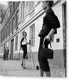 Suzy Parker Photographing A Model In Front Acrylic Print by Jacques Boucher