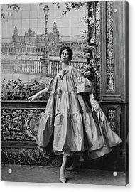 Suzy Parker Wearing A Coat By Pertegaz Acrylic Print by Henry Clarke