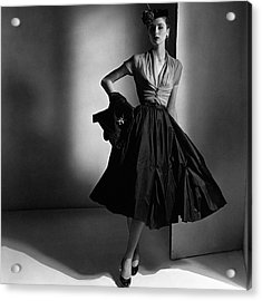 Suzy Parker Wearing A Dior Dress And Jacket Acrylic Print by Horst P. Horst