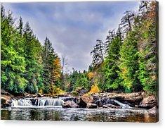 Swallow Falls Waterfall In Appalachian Mountains In Autumn Acrylic Print