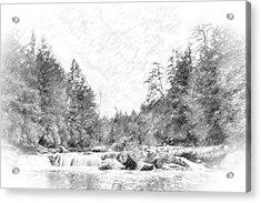 Swallow Falls Waterfall Pencil Sketch Acrylic Print