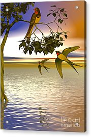 Acrylic Print featuring the digital art Swallows At Sunset by Sandra Bauser Digital Art