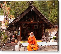 Swami Sundaranand At Tapovan Kutir 3 Acrylic Print by Agnieszka Ledwon