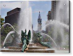 Swann Fountain In Philadelphia Pa Acrylic Print by Bill Cannon