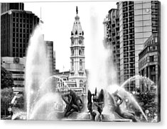 Swann Fountain Philadelphia Pa In Black And White Acrylic Print by Bill Cannon