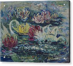 Acrylic Print featuring the painting Swans In Lilies  by Avonelle Kelsey