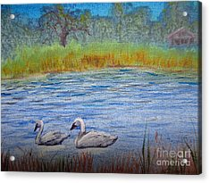 Acrylic Print featuring the painting Swans by Laurianna Taylor
