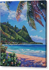 Swaying Palm On Makua Beach Acrylic Print by John Clark