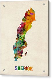 Sweden Watercolor Map Acrylic Print by Michael Tompsett