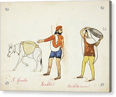 Sweeper And His Wife With Their Donkey Acrylic Print by British Library
