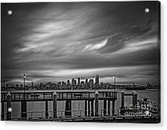 Sweeping Vista Of Downtown Seattle From Alki Beach - Seattle Washington Acrylic Print by Silvio Ligutti