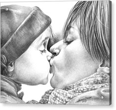 Acrylic Print featuring the drawing Sweet Kiss by Natasha Denger