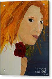Sweet Lady Holding A Rose Acrylic Print by Pamela  Meredith