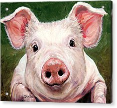 Sweet Little Piglet On Green Acrylic Print