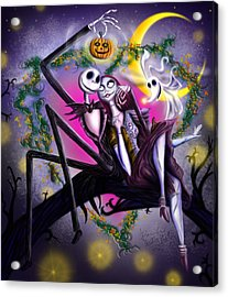 Sweet Loving Dreams In Halloween Night Acrylic Print by Alessandro Della Pietra