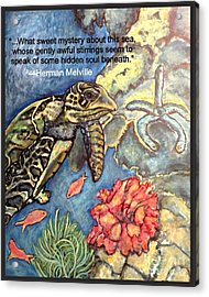 Acrylic Print featuring the mixed media Sweet Mystery Of This Sea A Hawksbill Sea Turtle Coasting In The Coral Reefs 2 by Kimberlee Baxter