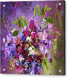 Sweet Pea Bouquet Acrylic Print by Carol Cavalaris