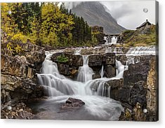 Swiftcurrent Falls In Autumn Acrylic Print