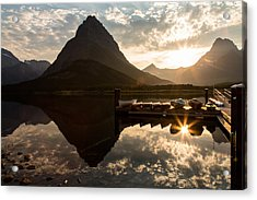 Swiftcurrent Lake Boats Reflection And Flare Acrylic Print by John Daly