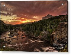 Swiftcurrent River Sunrise Acrylic Print by Mark Kiver