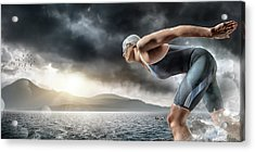 Swimmer About To Dive In Sea Acrylic Print by Peepo