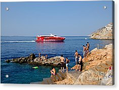 Swimming In Hydra Island Acrylic Print by George Atsametakis